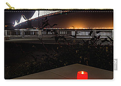 Carry-all Pouch featuring the photograph Candle Lit Table Under The Bridge by Darcy Michaelchuk