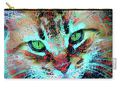Candy The Colorful Green Eyed Cat Carry-all Pouch