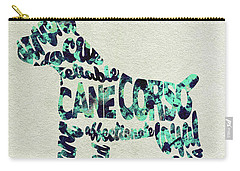 Carry-all Pouch featuring the painting Cane Corso Watercolor Painting / Typographic Art by Ayse and Deniz