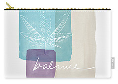 Carry-all Pouch featuring the mixed media Cannabis Leaf Watercolor 3- Art By Linda Woods by Linda Woods