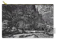 Carry-all Pouch featuring the photograph Canyon Corner - Bw by Christopher Holmes