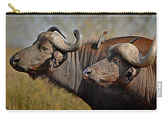 Cape Buffalo And Their Housekeeper Carry-all Pouch