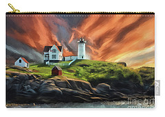 Carry-all Pouch featuring the digital art Cape Neddick Nubble Lighthouse by Lois Bryan