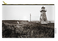 Carry-all Pouch featuring the photograph Cape Tryon Light - Bw by Chris Bordeleau