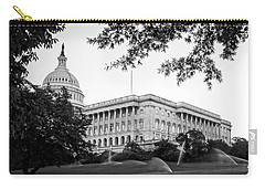 Capitol Lawn In Black And White Carry-all Pouch by Greg Mimbs