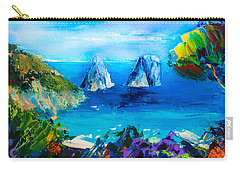 Carry-all Pouch featuring the painting Capri Colors by Elise Palmigiani