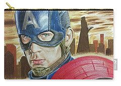 Carry-all Pouch featuring the drawing Captain America by Michael McKenzie