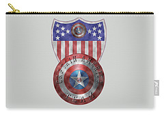 Carry-all Pouch featuring the painting Captain America Shields On Gold  by Georgeta Blanaru