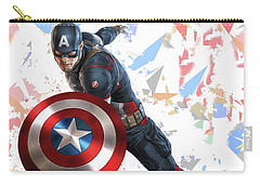 Carry-all Pouch featuring the mixed media Captain America Splash Super Hero Series by Movie Poster Prints