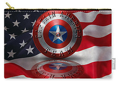 Carry-all Pouch featuring the painting Captain America Team Typography On Captain America Shield  by Georgeta Blanaru