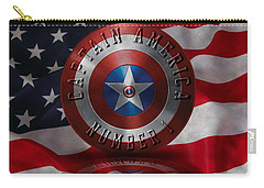 Captain America Typography On Captain America Shield  Carry-all Pouch by Georgeta Blanaru