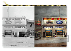 Carry-all Pouch featuring the photograph Car - Garage - Hendricks Motor Co 1928 - Side By Side by Mike Savad