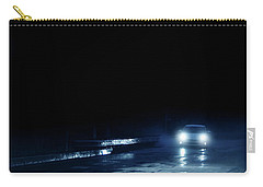 Car On A Rainy Highway At Night Carry-all Pouch by Jill Battaglia