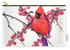 Cardinal And Berries Carry-all Pouch by Suren Nersisyan