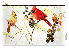 Cardinal Birds And Berries Carry-all Pouch by Suren Nersisyan