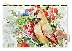 Cardinal Birds And Hawthorn Carry-all Pouch by Suren Nersisyan