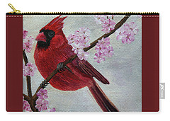 Cardinal In Cherry Blossoms Carry-all Pouch by Jane Axman