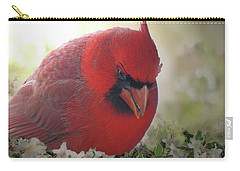 Carry-all Pouch featuring the photograph Cardinal In Flowers by Debbie Portwood