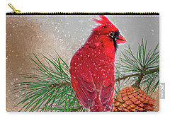 Cardinal In Snow Carry-all Pouch by Mary Timman