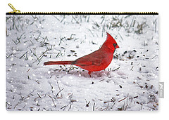 Cardinal In The Snow Carry-all Pouch by Suzanne Stout