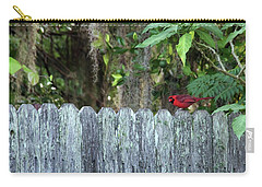 Carry-all Pouch featuring the photograph Cardinal On The Fence by Richard Rizzo
