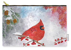 Cardinal With Red Berries And Pine Cones Carry-all Pouch