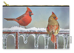 Cardinals And Icicles Carry-all Pouch by Janette Boyd