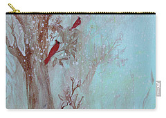Carry-all Pouch featuring the painting Cardinals In Trees Whilst Snowing by Robin Maria Pedrero