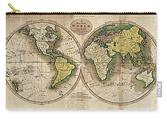Carry-all Pouch featuring the photograph Carey's Map Of The World  1795 by Daniel Hagerman