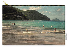 Carry-all Pouch featuring the photograph Caribbean Beach Scenic In Grunge by Rosalie Scanlon