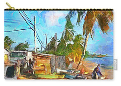 Caribbean Scenes - Beach Village Carry-all Pouch by Wayne Pascall