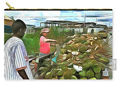 Carry-all Pouch featuring the painting Caribbean Scenes - De Coconut Vendor by Wayne Pascall