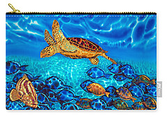 Caribbean Sea  Turtle And Reef  Fish Carry-all Pouch