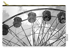 Carry-all Pouch featuring the photograph Carnival Ferris Wheel Black And White Print - Carnival Rides Ferris Wheel Black And White Art Prints by Kathy Fornal