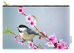 Carolina Chickadee And Peach Blossoms Carry-all Pouch