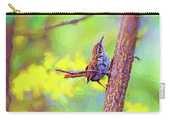 Carry-all Pouch featuring the photograph Carolina Wren In The Autumn Forest by Kerri Farley