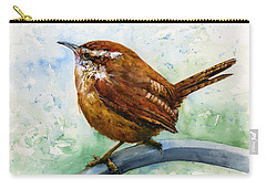 Carolina Wren Large Carry-all Pouch by John D Benson