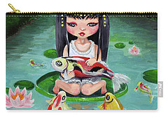 Carp And Girl Carry-all Pouch by Akiko Okabe