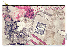 Carte Postale Bicycle Carry-all Pouch by Mindy Sommers