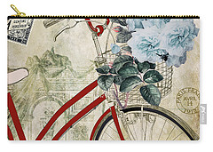 Carte Postale Vintage Bicycle Carry-all Pouch by Mindy Sommers