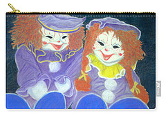 Carry-all Pouch featuring the pastel Aunt Cassies Raggedy Ann And Andy  Pastel by Antonia Citrino