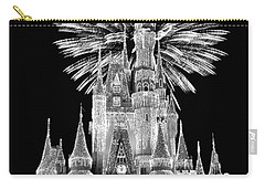 Castle With Fireworks In Black And White Walt Disney World Mp Carry-all Pouch