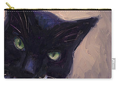 Carry-all Pouch featuring the painting Cat A Tude by Billie Colson