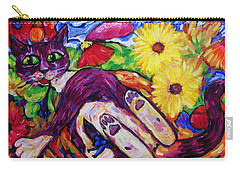 Cat Among Daisy Petals Carry-all Pouch by Dianne  Connolly