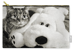 Carry-all Pouch featuring the photograph Cat And Dog In B W by Andee Design