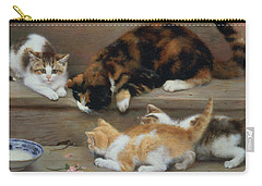 Cat And Kittens Chasing A Mouse   Carry-all Pouch