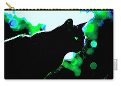 Cat Bathed In Green Light Carry-all Pouch by Gina O'Brien