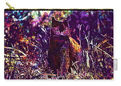 Carry-all Pouch featuring the digital art Cat Black Sun Meadow  by PixBreak Art