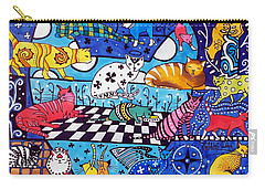 Cat Cocktail - Cat Art By Dora Hathazi Mendes Carry-all Pouch by Dora Hathazi Mendes