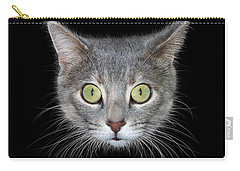 Cat Head On Black Background Carry-all Pouch